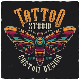 Design avec illustration dessinée à la main de papillon.