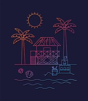 Design d'illustration été et vacances