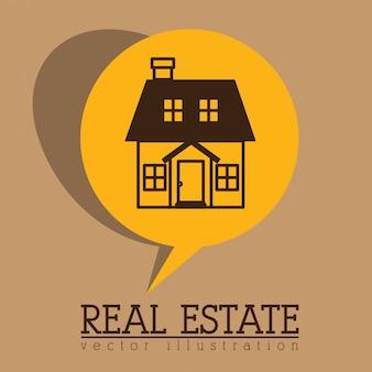 Design immobilier sur illustration vectorielle fond beige