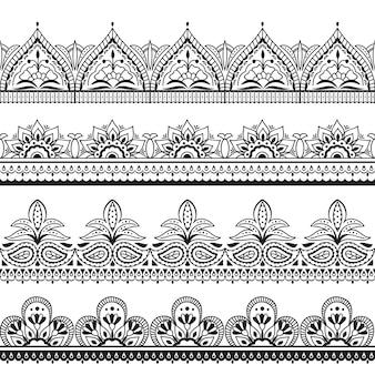 Design indien mehndi. frontières orientales sans couture au henné.