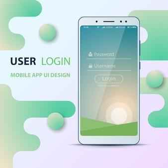 Design de l'interface utilisateur. icône de smartphone identifiant et mot de passe.