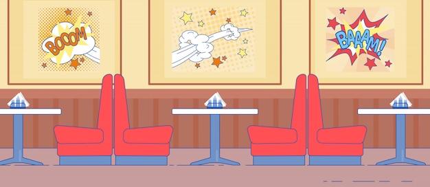 Design d'intérieur american diner avec canapé rouge
