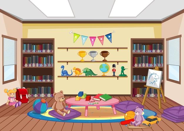 Design d'intérieur de bibliothèque vide avec étagères