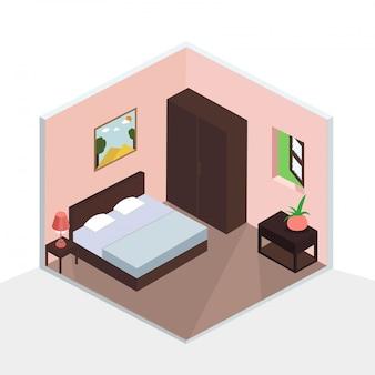 Design d'intérieur de chambre à coucher isométrique 3d.