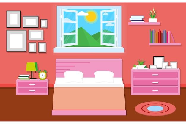 Design intérieur de la chambre avec des meubles