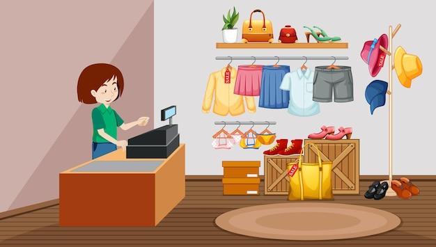 Design d'intérieur de magasin de tissu