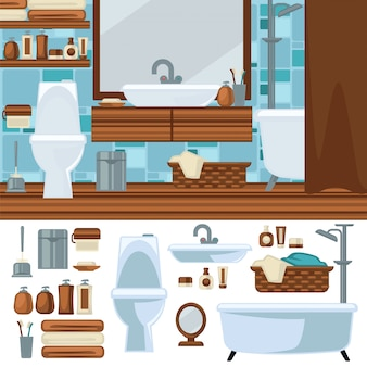 Design d'intérieur de salle de bain. accessoires et mobilier.