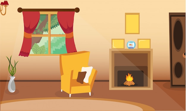 Design d'intérieur de salon avec cheminée.