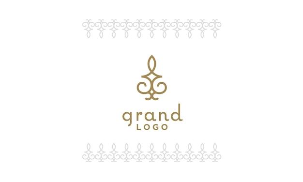 Design de logo élégant motif floral classique de luxe artistique