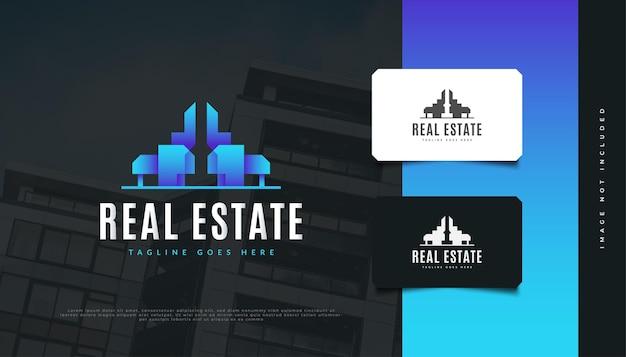 Design de logo immobilier moderne bleu. création de logo de bâtiment abstrait pour l'identité d'une société immobilière