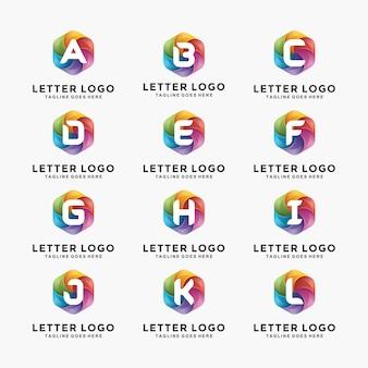 Design de logo de lettre moderne 3d coloré