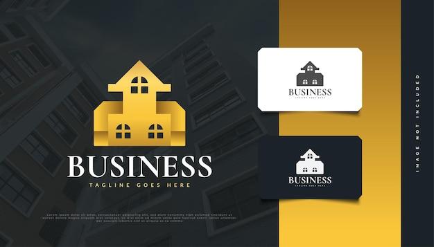Design de logo de maison en or de luxe pour l'identité d'une société immobilière