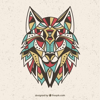Design de loup coloré