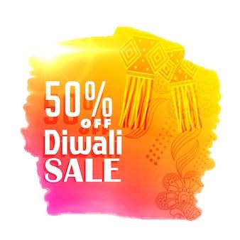 Design lumineux de poster de vente de diwali avec des lampes suspendues