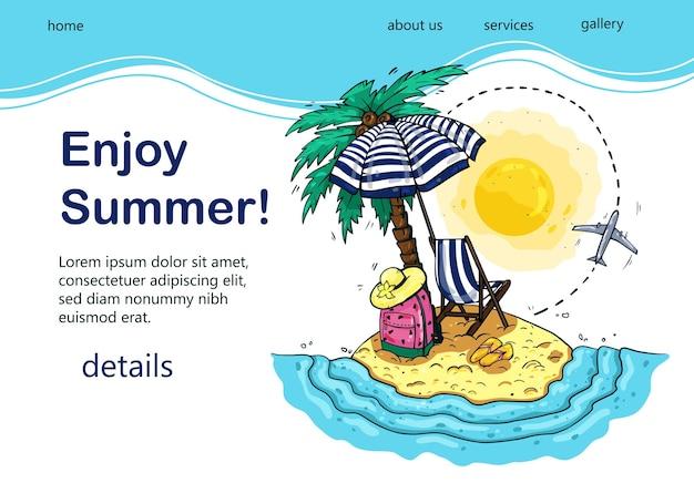 Design lumineux de touriste avec palmier, mer, transat, sac à dos, parasol, avion pour blog touristique populaire, page de destination ou site web touristique.