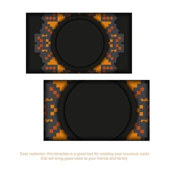 Design luxueux d'une carte postale en noir avec des motifs slovènes. carte d'invitation de vecteur avec place pour votre texte et ornement vintage.