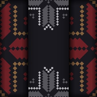 Design luxueux d'une carte postale en noir avec des motifs slovènes.