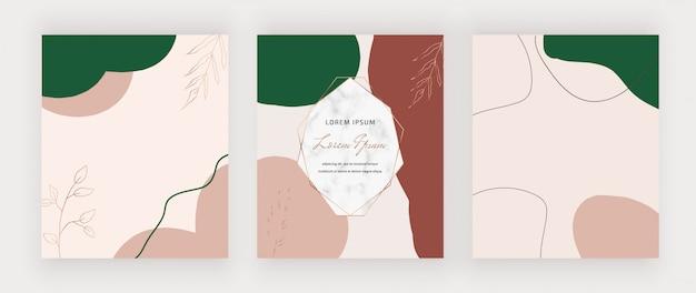 Design milieu du siècle avec cadre en marbre et nu, vert avec des formes brunes.
