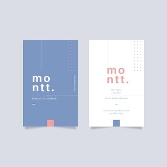 Design minimaliste de carte de visite