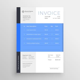 Design de modèle de facture bleu moderne
