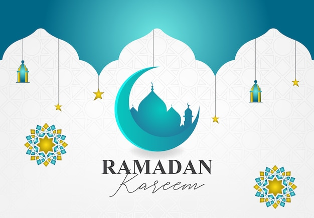 Design moderne pour l'événement ramadan kareem avec couleur turquoise et or