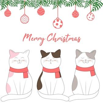 Design de noël avec style de dessin animé de chat mignon