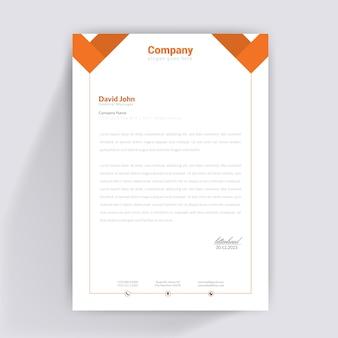 Design de papier à en-tête orange