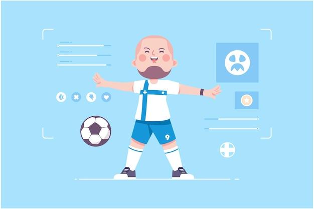 Design de personnage mignon joueur de football finlandais