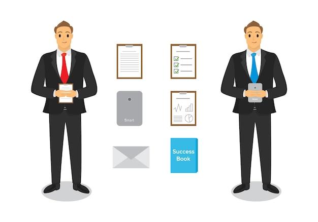 Design des personnages d'affaires avec du papier