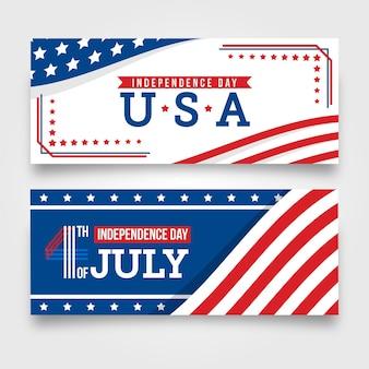 Design plat 4 juillet bannières horizontales