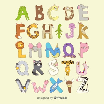 Design plat d'alphabet animal