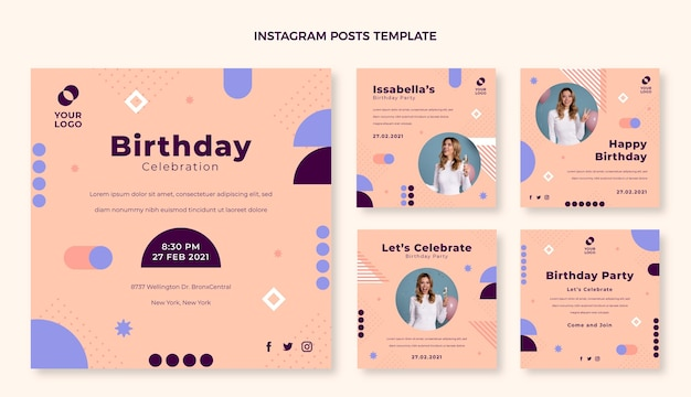 Design plat anniversaire minimal ig post