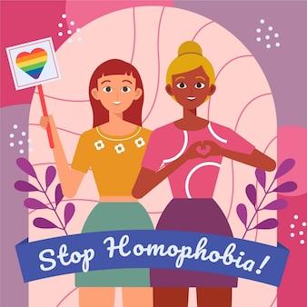 Design plat arrêter l'homophobie avec drapeau