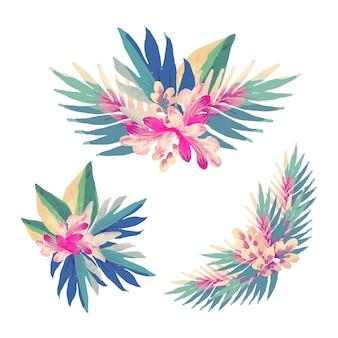 Design plat d'assortiment d'éléments floraux