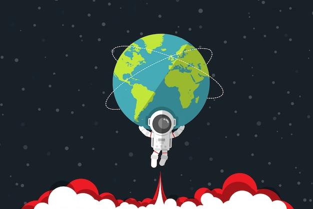 Design plat, astronaute portant la terre sur son épaule et au-dessous de la fumée rouge du moteur à réaction, illustration vectorielle, élément infographique