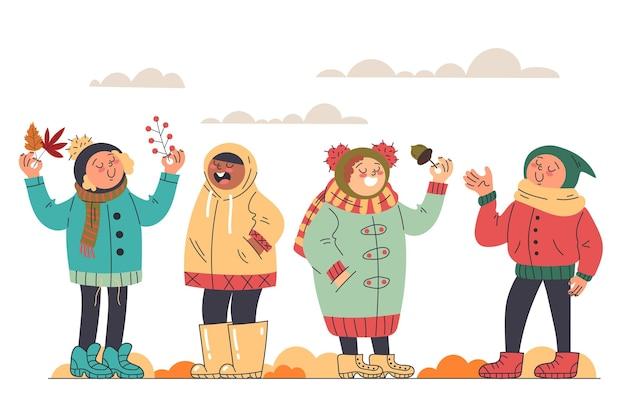 Design plat automne enfants à l'extérieur