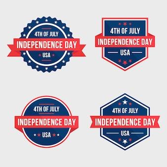 Design plat de badges de jour de l'indépendance