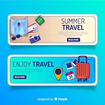 Design plat de bannière éléments de voyage