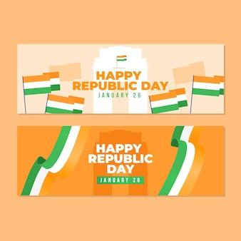 Design plat de bannière de jour de république indienne
