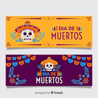 Design plat de bannières dia de muertos