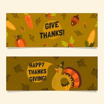 Design plat de bannières horizontales de thanksgiving
