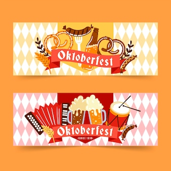 Design plat de bannières oktoberfest