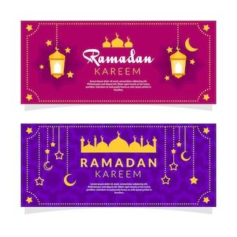 Design plat de bannières de ramadan