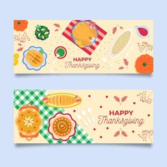 Design plat de bannières de thanksgiving
