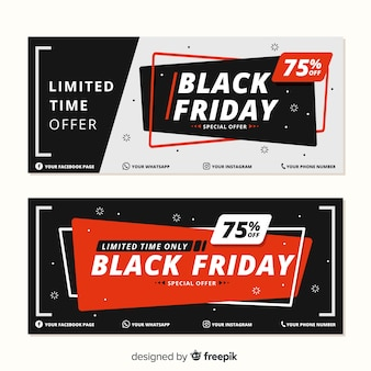 Design plat de bannières de vendredi noir
