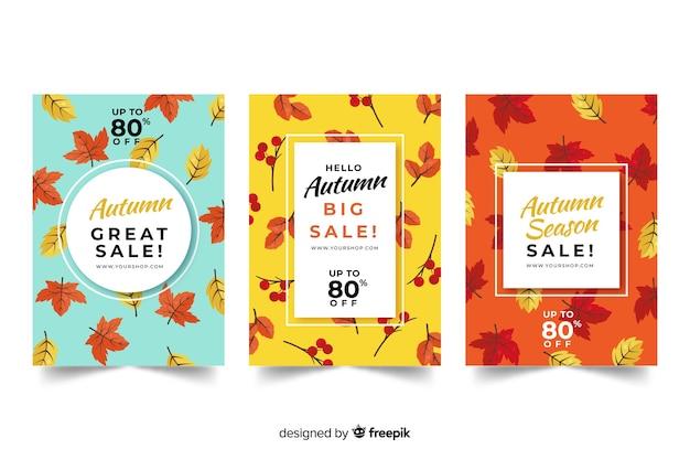 Design plat de bannières de vente automne