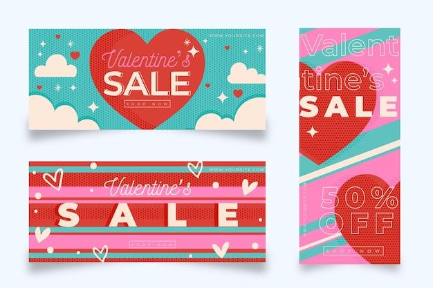 Design plat de bannières de vente saint valentin