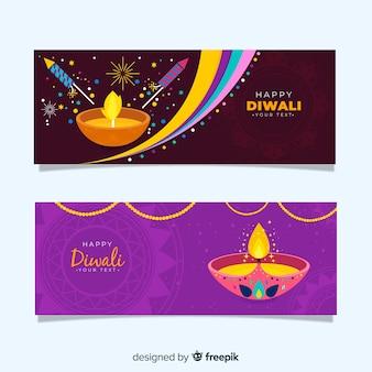 Design plat de bannières web diwali