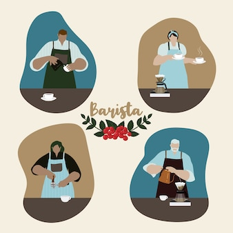 Design plat de baristas préparant du café