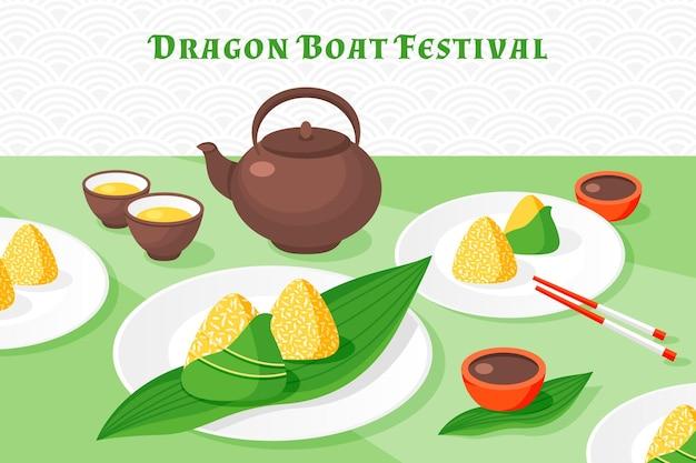 Design plat bateau dragon fond zongzi